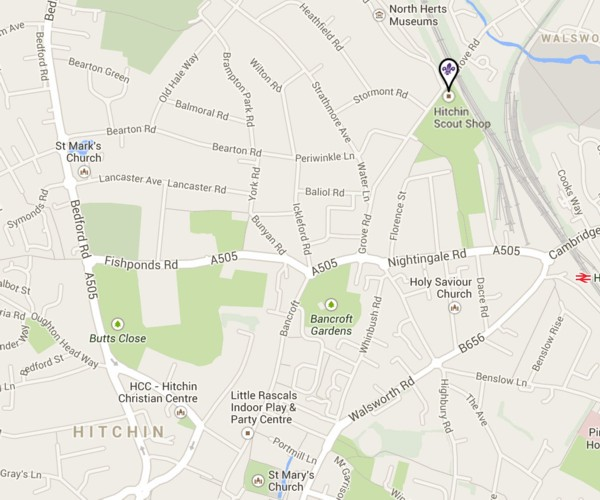 Hitchin and District Scout Shop Google Map (preview)